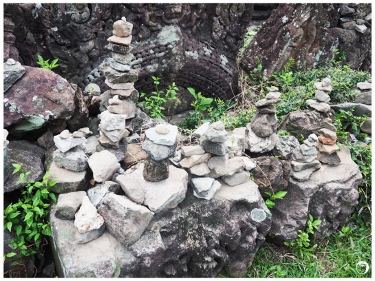 Mini rock piles. The locals believe they are to bring good lucks.